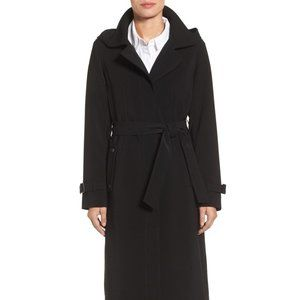 Gallery Womens's Hooded Nepage Trench Coat Black